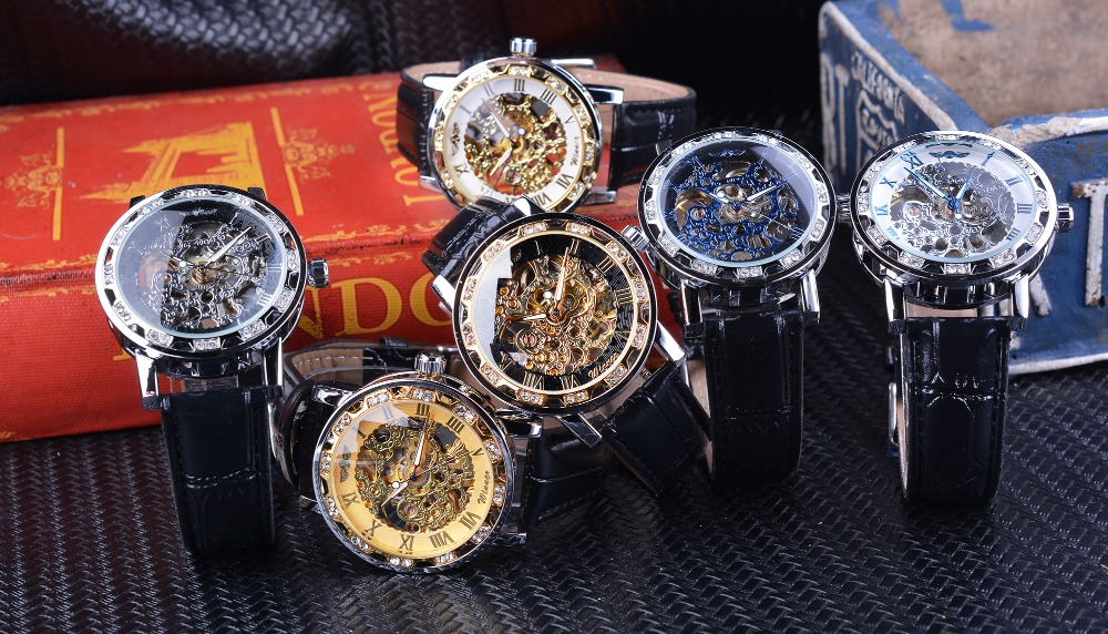 UTB8UHHzjD IXKJkSalUq6yBzVXal Winner Black Golden Retro Luminous Hands Fashion Diamond Display Mens Mechanical Skeleton Wrist Watches Top Brand Luxury Clock