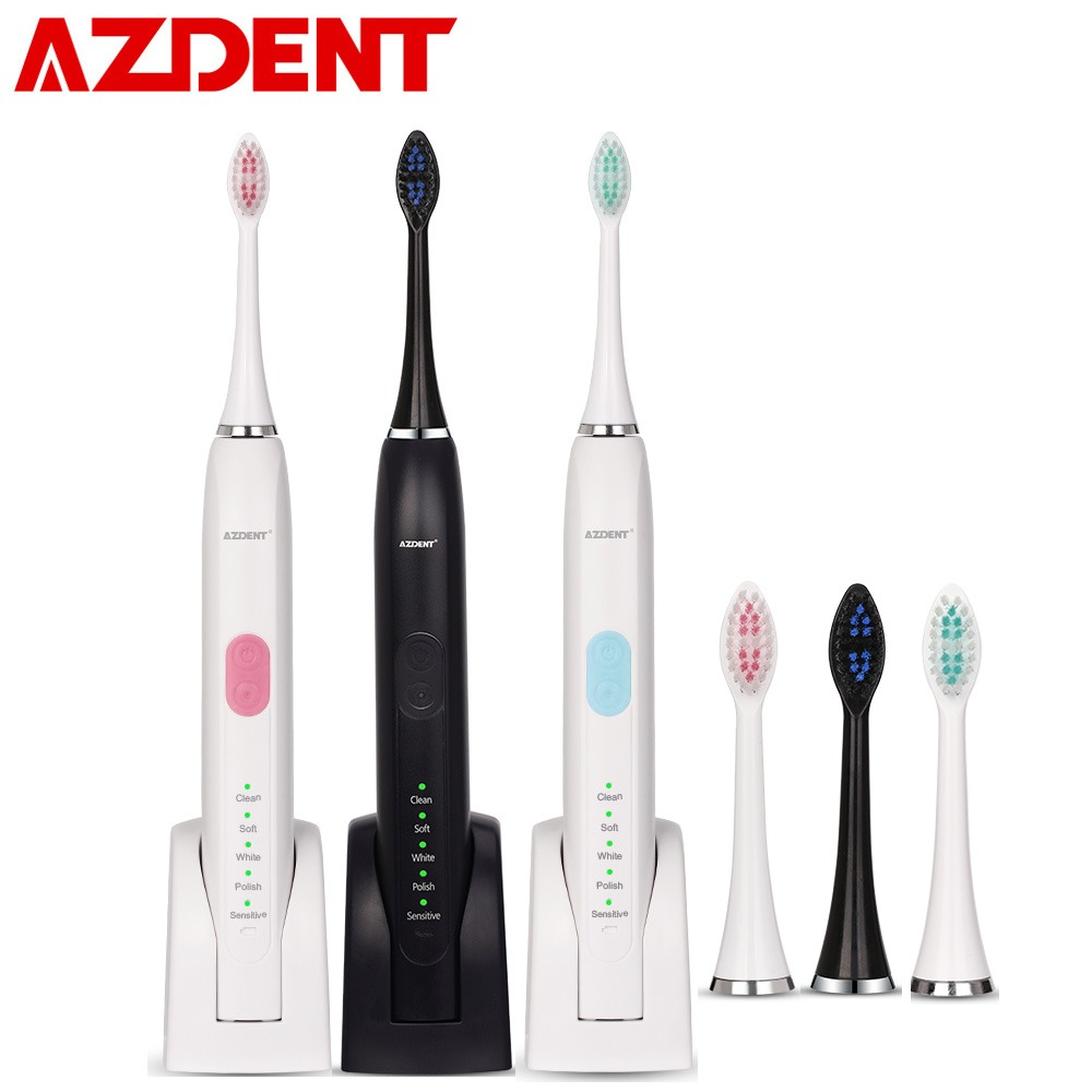 AZDENT AZ-5 Pro Ultrasonic Sonic Electric Toothbrush Rechargeable Tooth Brushes 2pcs Replacement Heads 5 Modes 2 Minutes Timer