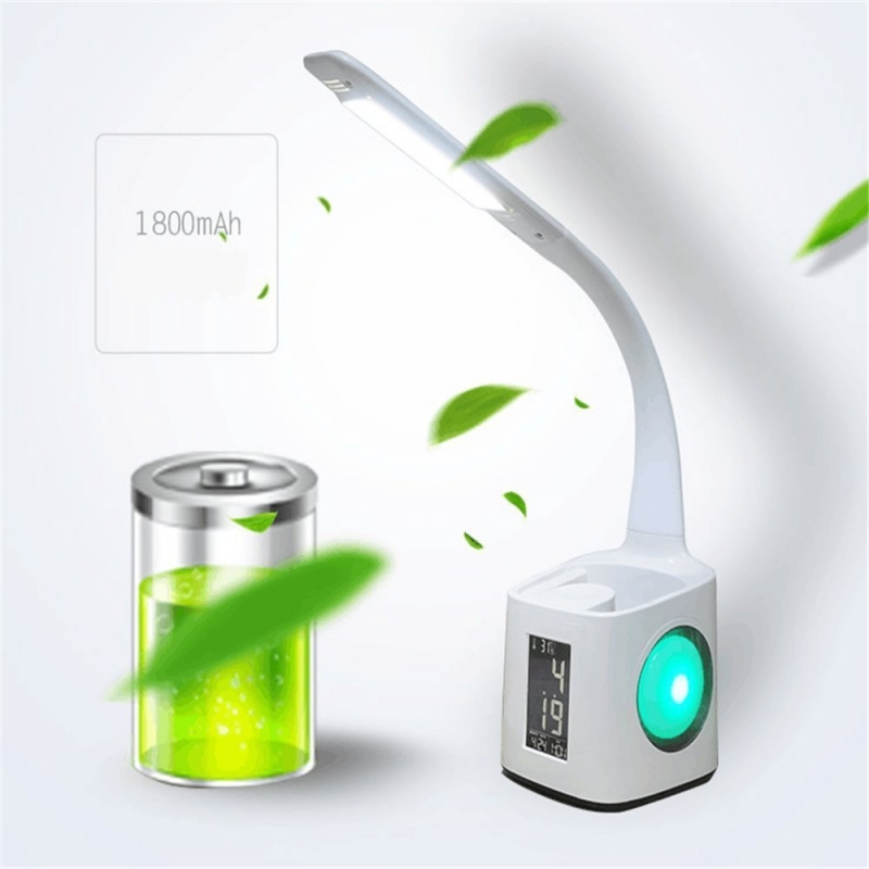 Moderne Dimmable led lampe de bureau avec porte-stylo port usb et écran lcd avec Calendrier/réveil/Température 3 Niveau Luminosité