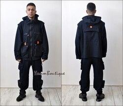 2 piezas conjuntos de algodón azul marino hombres moda desmontable Cargo Chaleco con bolsillos chaqueta y pantalones holgados cintura elástica hebilla hola