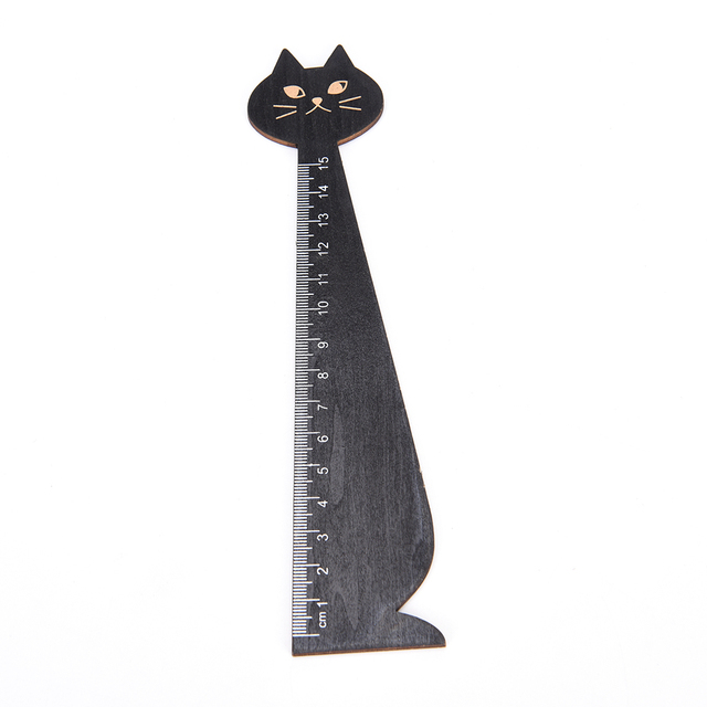 2 pcsset wood straight ruler black yellow lovely cat shape ruler gift for kids