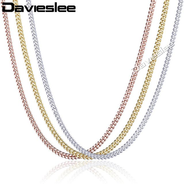 Online shop davieslee 585 white yellow rose gold filled necklace davieslee 585 white yellow rose gold filled necklace for women mens chain flat cut round link wholesale jewelry 3mm lgnm97 mozeypictures Images