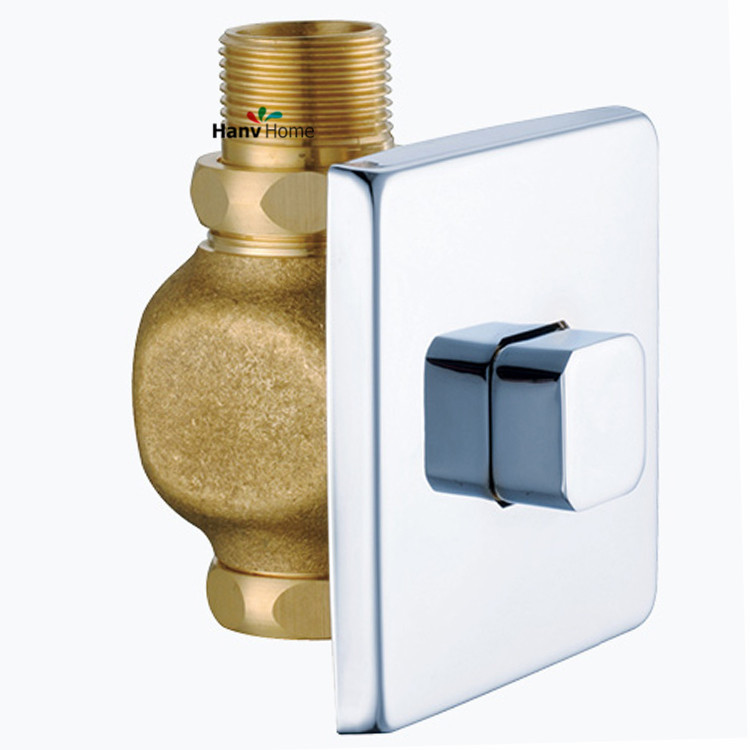 Toilet Flush Valve Manual Bathroom Stool Brass Valve Self-closing Flush Time-extended Press Type in Wall Delay Urinal Components public restroom 7 8pt dia male thread press type toilet flush valve adapter zmm