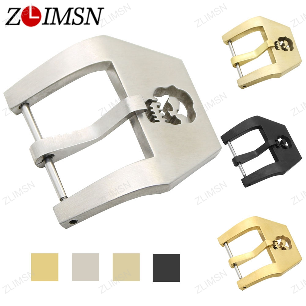 ZLIMSN Watch Buckle 316L Solid Stainless Steel Brushed Skull Watch Strap Clasp 20 22 24 26mm Watchbands Buckle Accessories zlimsn high quality thick genuine leather watchbands 20 22 24 26mm brown watch strap 316l brushed silver stainless steel buckle