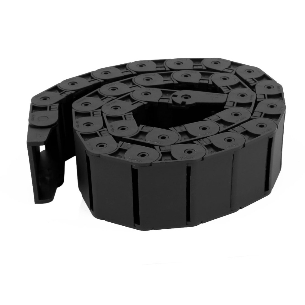 1Pcs 1M Plastic Half Open Type Towline Cable Carrier Drag Chain 18 x 50mm For CNC Machine Tools Transmission Chains Power Parts 18 x 50mm 1m semi enclosed type drag chain wire carrier black