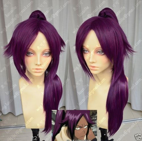 Bleach Shihouin Yoruichi 60cm Purple Lolita Cosplay Party Wig w/ Ponytail +CAP>>>girls Cosplay wig Free shipping long wavy hand tied lace front synthetic hair grape purple cosplay party wig
