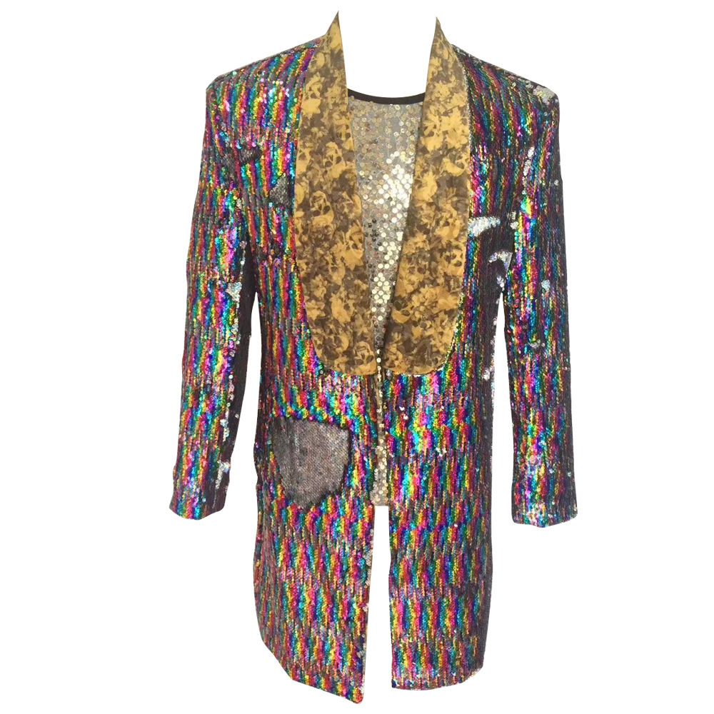 HCF by Air Mens 1 Piece Printed Flannel Lapel Long Pattern Colors Costumer Jacket With Shiny Sequins For Any Party