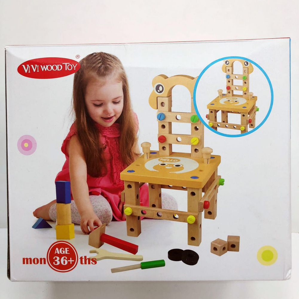 Montessori for kid Children's educational toys Chair designer set of tools wooden toys gifts for Girls Boys shipping from Russia