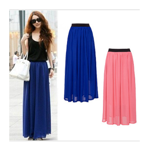 Hot Sale 2015 Summer Fashion Bohemian Double Layer Chiffon Pleated Elastic Waist Long Maxi Skirt Drop Shipping 7