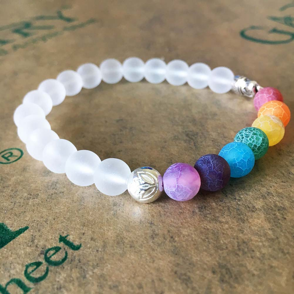 Hot sale Energy Elephant Charm Rainbow Healing Crystal Beads Bracelet Yoga Jewelry For Men Women Gift
