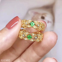 KJJEAXCMY boutique jewelry 925 sterling silver inlaid natural emerald ring female models support test