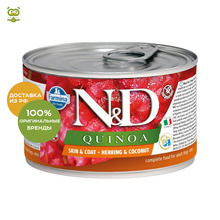 N&D Dog Quinoa Wet Food Skin & Coat Mini консервы для собак мелких пород, Сельдь и кокос, 140 г.