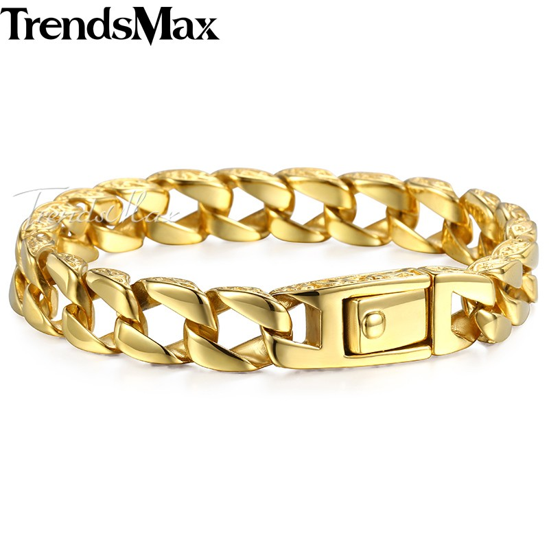 купить Trendsmax Fashion New Gold Stainless Steel Charm Bracelet Men Vintage Totem Men Bracelets 2018 Cool Male Jewelry Armband HB324 по цене 788.09 рублей