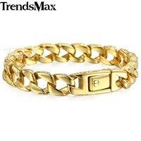 Trendsmax Mens Bilezik Altın Rengi 316L Paslanmaz Çelik Küba Curb Link Zinciri Erkek Moda Toptan Takı HB324