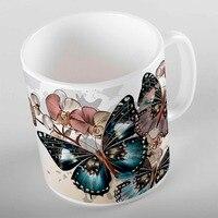 Anderes Braun Creme Blumen auf Zweig Großen Blauen Schmetterling 3d Druck Geschenk Keramik Trinken Wasser Tee Bär Kaffee Tasse Becher küche