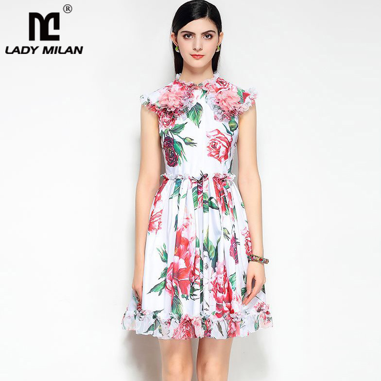 Lady Milan 2018 Womens O Neck Sleeveless Floral Printed Appliques Ruffles High Street Fashion Causual Summer Runway Dresses