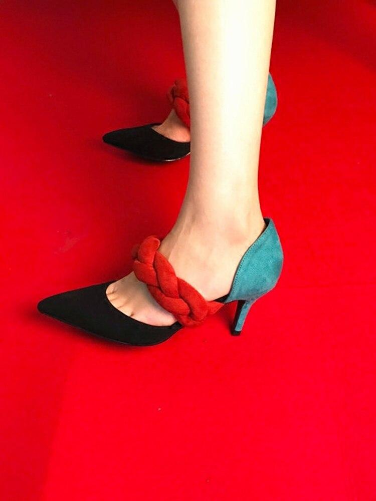 Heels D Schuhe Flock High Frauen Leder Spitz Frau Gladiator Tc31FlKJ