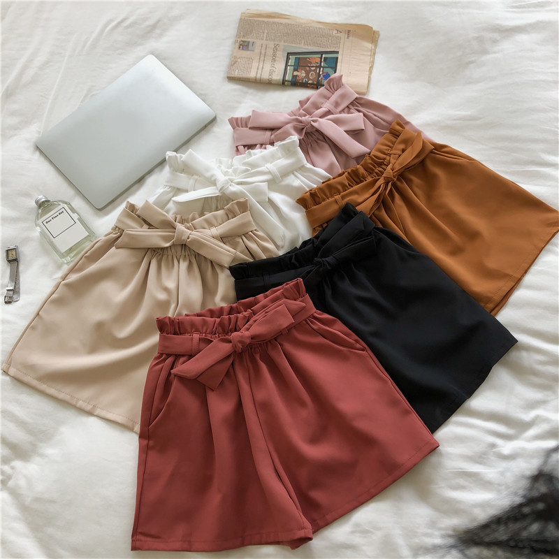 Summer Korean Fashion Streetwear Loose Shorts Bow Drawstring Trendy 2019 Light High Waist Shorts For Women