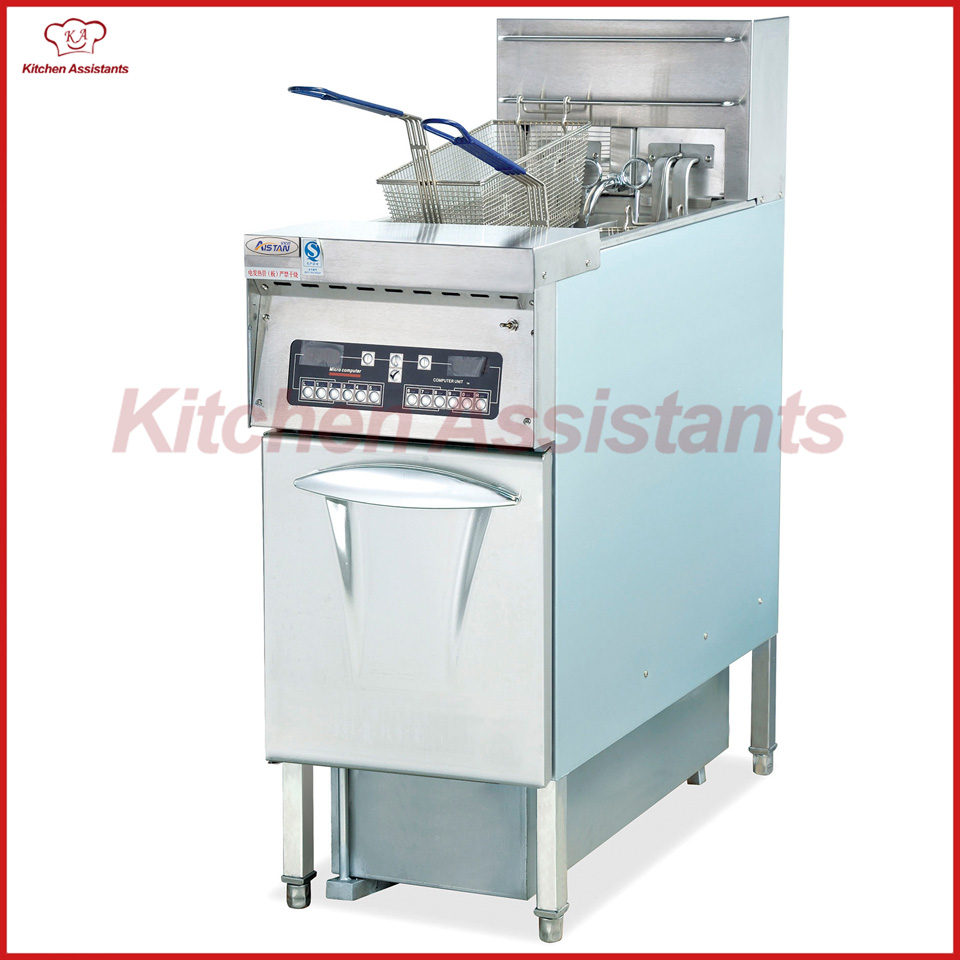 DF34A 2 tank computer KFC chip chicken potato oil fryer oven with oil filter cart