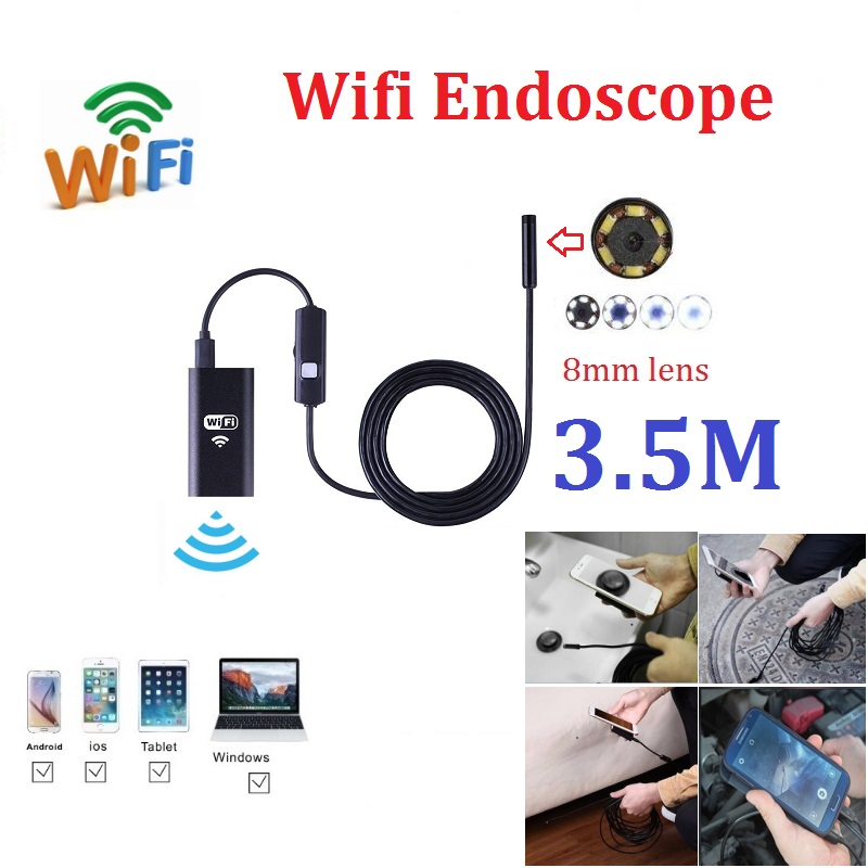 3.5M 8MM lens iOS Android Endoscope Wifi Endoscope Camera 720P Iphone Borescope Camera with 6pcs mini led детская игрушка new wifi ios