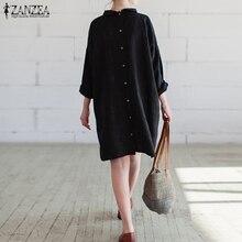 ZANZEA женское платье 2018 Осенняя мода Винтаж Повседневное свободные Платья из хлопка с длинным рукавом по колено Vestidos плюс Размеры