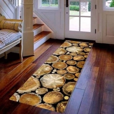 Else Brown Trees Wood Bags Floral 3d Print Non Slip Microfiber Washable Long Runner Mats Floor Mat Rugs Hallway Carpets