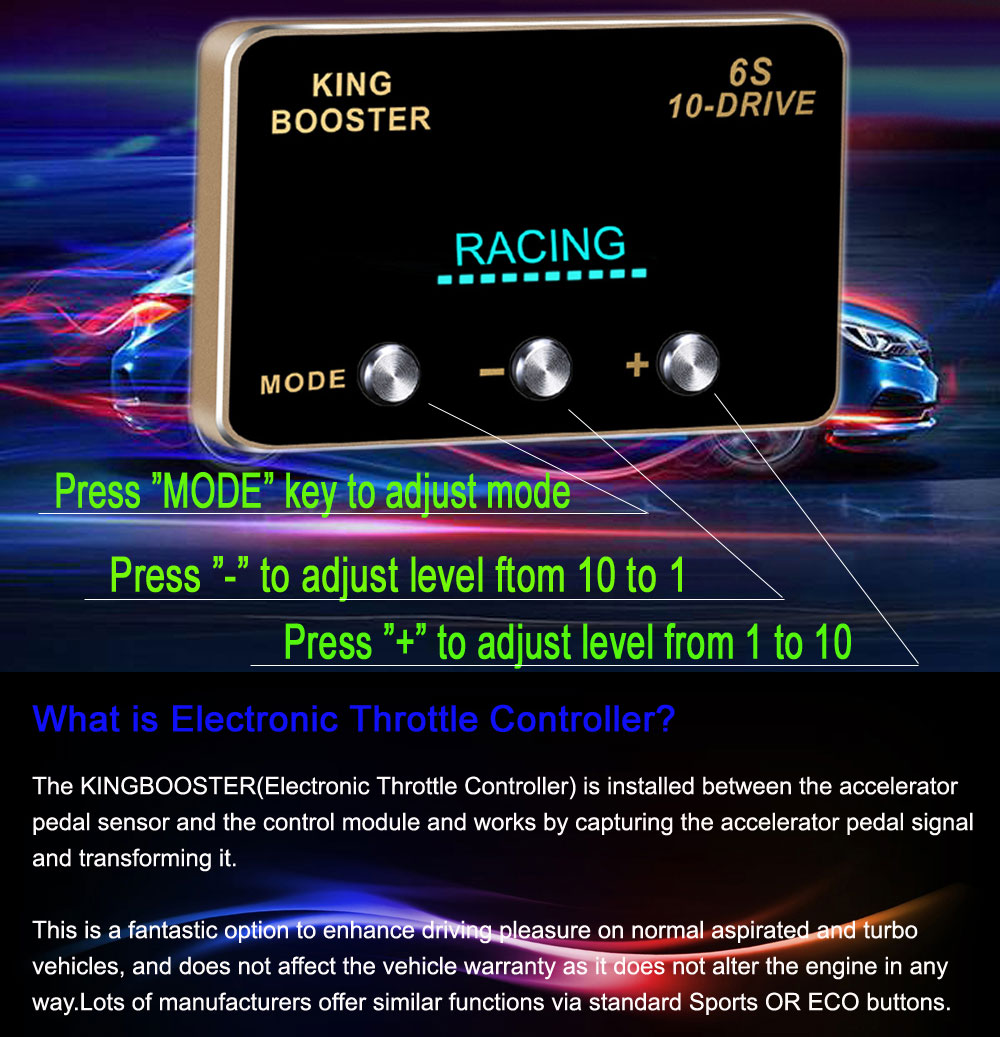 2 car DIY accessories smart pedal commander tuning box electronic throttle controller accelerator speed control module