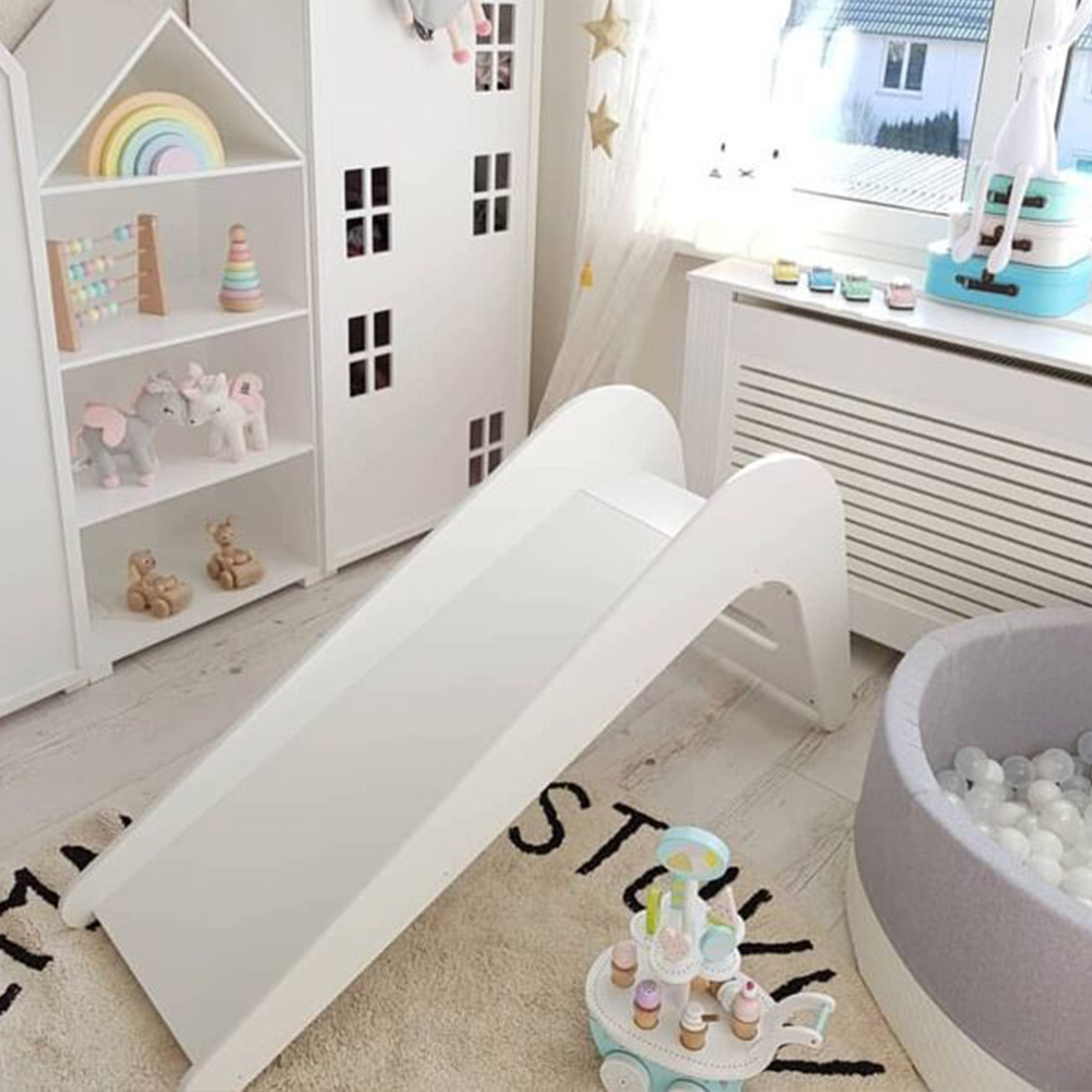 Children Toddlers Baby White Wooden Slide Indoor Climbing Walking Crawling Toy For Kids Tide Fashion Home Nursery Early Learning