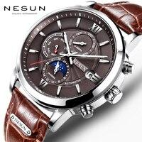Neue 2018 Männer Voll-automatische Mechanische Uhr Luxus Mode Marke Echtem Leder Mann Multifunktionale Mond Phase Uhren
