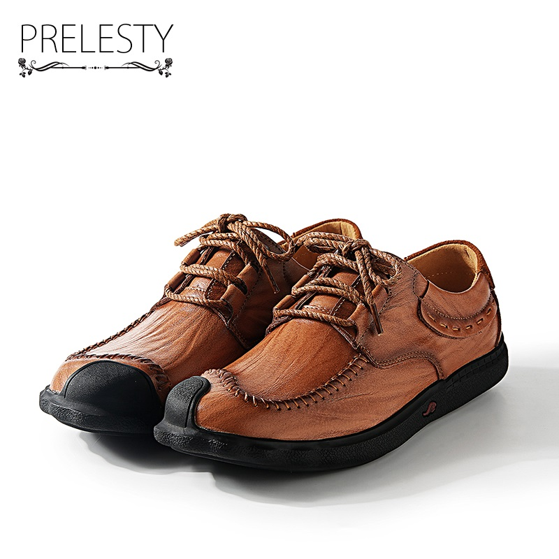 Prelesty Vintage Luxury Brand Warm Winter Men Casual Shoes Handmade Genuine Leather Lace Up Soft Breathable Walking Shoes 2018 new fashion luxury brand men loafers winter fur warm sneakers genuine leather high quality lace up black casual shoes 38 44