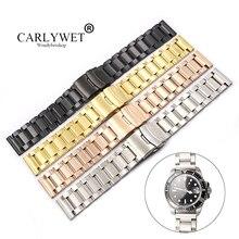 CARLYWET 18 20 22 24mm Silver Gold Black Rose  Watch Band For Tag CARRERA Omega Montblanc Panerai Daytona Submariner Tissot