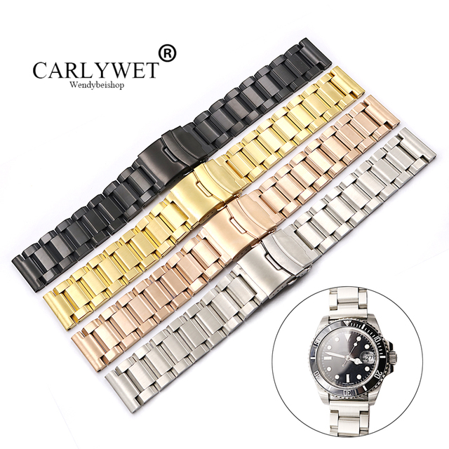 Us 14 7 40 Off Carlywet 18 20 22 24mm Silver Gold Black Rose Gold Watch Band For Tag Carrera Omega Montblanc Panerai Daytona Submariner Tissot In