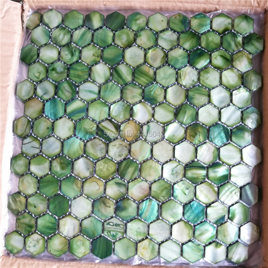 Green Mother Of Pearl Mosaic Tile For Home Decoration Backsplash And Bathroom Wall Tile Hexagon Pattern 1 Square Meter/lot