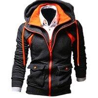 INCERUN Winter Velvet Hoodie Men Zipper Sweat Hooded Coat Brand Mens Tracksuit Sweatshirt Color Splice Thicken