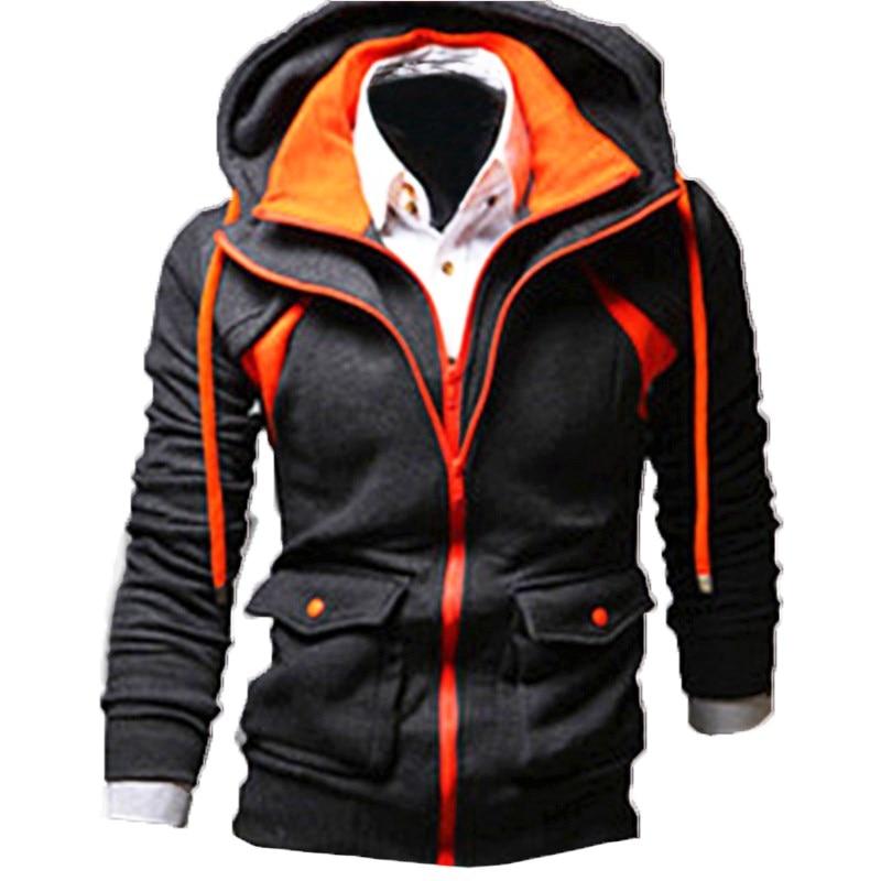 INCERUN Winter Velvet Hoodie Men Zipper Sweat Hooded Coat Brand Mens Tracksuit Sweatshirt Color Splice Thicken Warm Male Hoodies