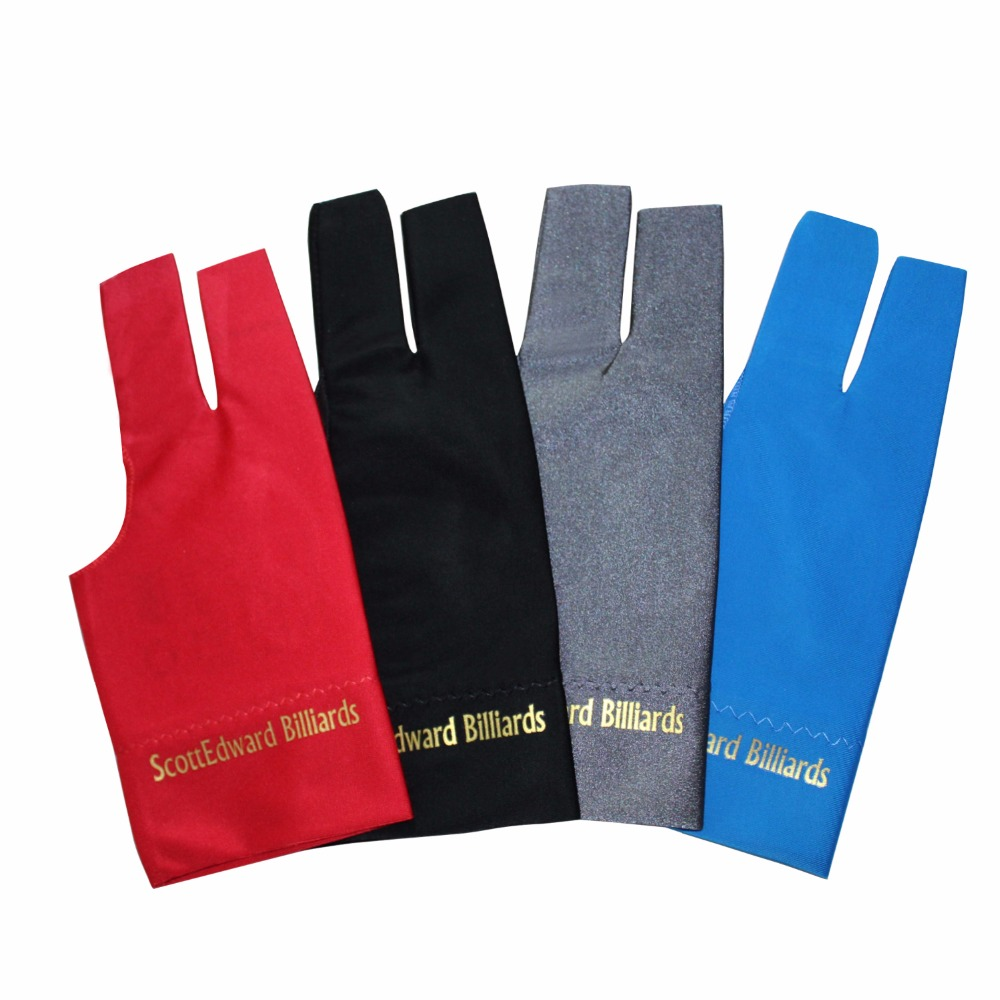 12 Pieces 3 Colors Mixed Left//Right Hand Scott Edward Sports Scott Edward 3 Fingers Billiard Gloves for Snooker Cue Pool