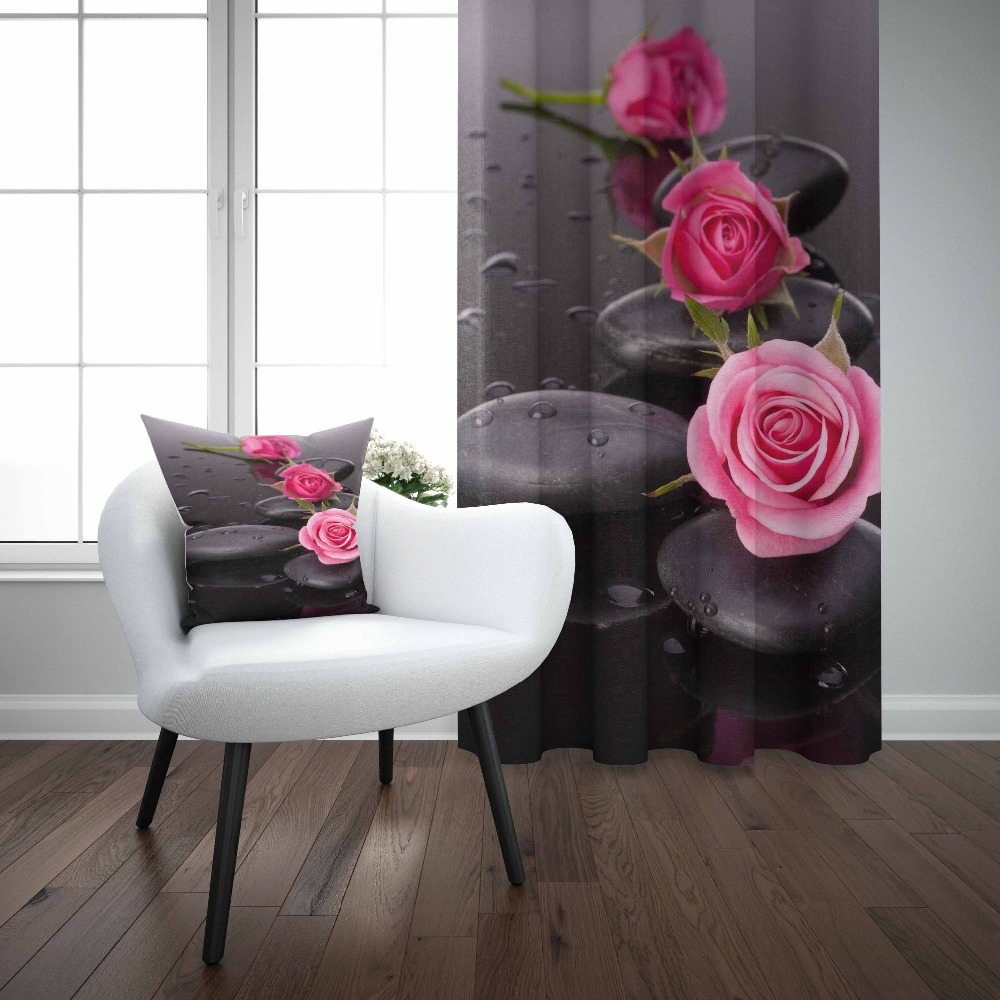 Else Black Spa Stones Pink Roses Flowers Floral 3D Print Living Room Bedroom Window Panel Curtain Combine Gift Pillow CaseElse Black Spa Stones Pink Roses Flowers Floral 3D Print Living Room Bedroom Window Panel Curtain Combine Gift Pillow Case