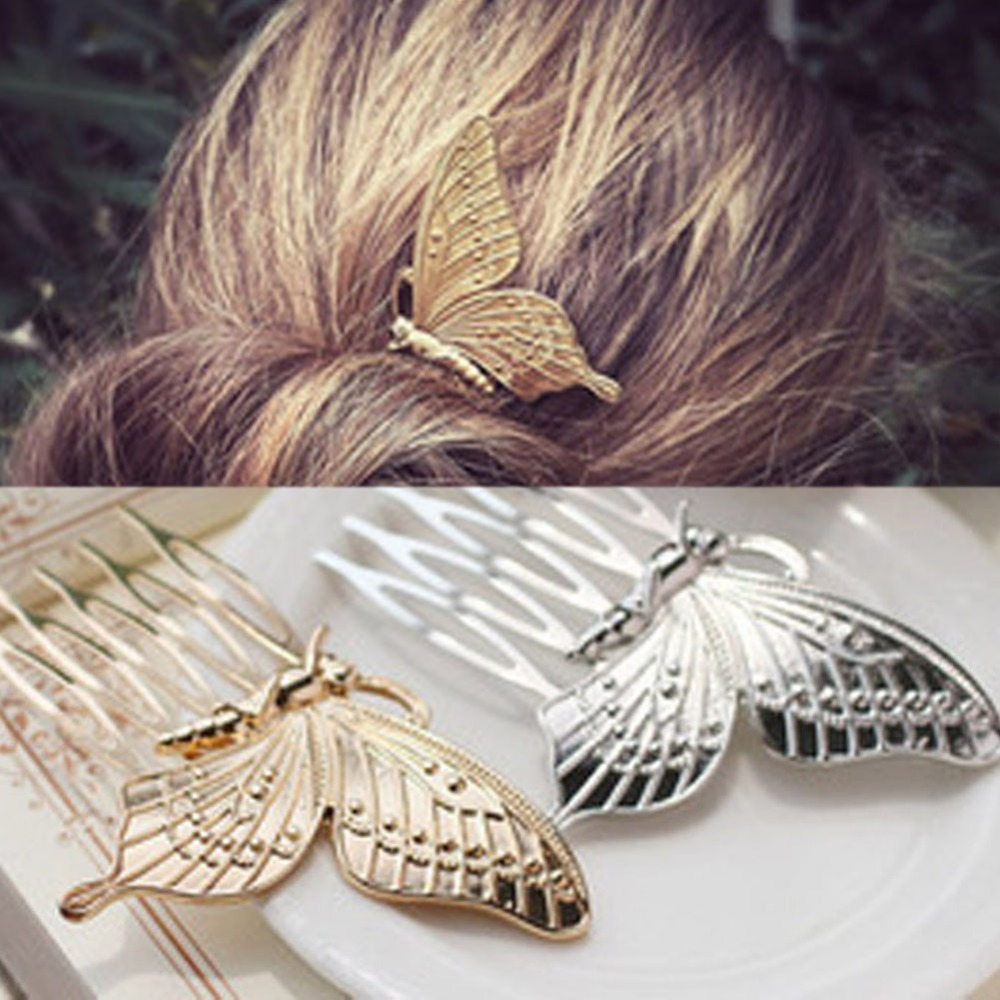 New Retro-minimalist Butterfly Hair Comb Jewelry Plugs Ms Barrette Korean Fashion Headwear Hair Accessories