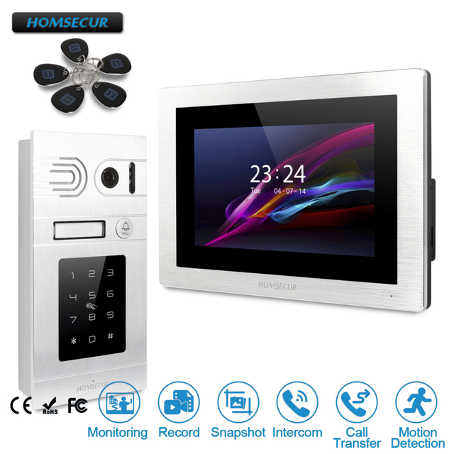 """HOMSECUR 7"""" Wired Video&Audio Door Intercom with Password Access+Touch Screen Monitor for Apartment  BC071-S +BM714-S"""