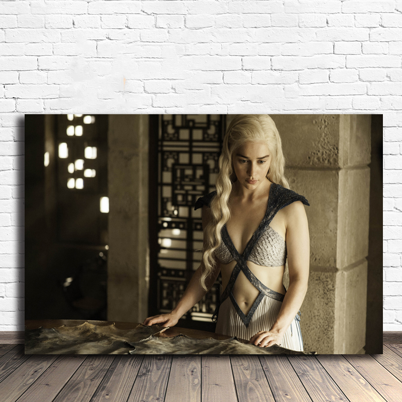 Emilia Clarke Has Three Dragons Game Of Thrones Season Poster Painting On Canvas Bedroom Wall Art Decoration Pictures Home Decor
