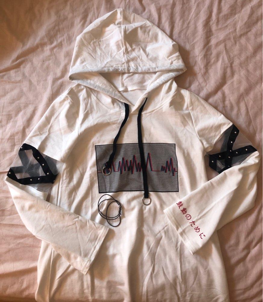 Korea Women Lolita Long Hoodies Japanese Harajuku Fashion Ecg Graphic Female White Sweatshirt With Heart Kawaii Gothic Tops photo review