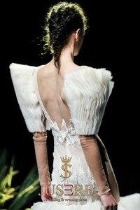 Image 5 - JUSERE 2019 SS FASHION SHOW Sexy Illusion marfil sirena vestido de novia cuello pico manga larga Apliques de encaje Pleat vestidos de novia