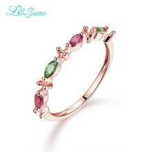 l&zuan 14K Rose Gold Natural 0.06ct Tourmaline Colorful Setting The black friday Trendy Christmas Fine Jewelry Rings For Women