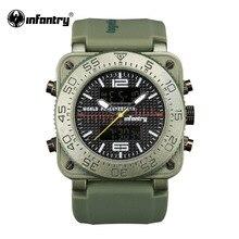 Мужские Цифровые кварцевые часы в стиле милитари от ведущего бренда, роскошные светящиеся армейские зеленые квадратные наручные часы Relogio Masculino