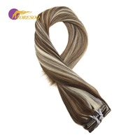 Moresoo Clip in Hair Extensions 100% Real Remy Full Head Highlight Color Brown #9A Mixes with Platinum Blonde #60 7Pcs/100G