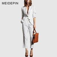 HIGH QUALITY Fashion Workwear Women Formal OL Pants Suits Single Button Blazer Ankle Length Trousers Striped