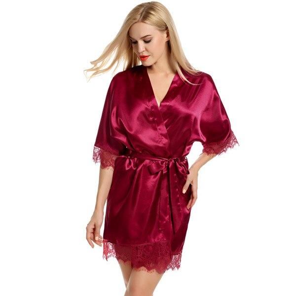 86 Avidlove Gown Women Satin Bride Robe Lace Silk Kimono Bathrobe With Removable Belt Bridesmaid Plus Size Nightwear Peignoir