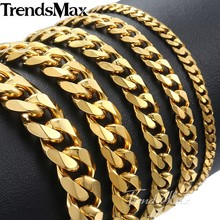 Trendsmax Polished Men's Bracelet Stainless Steel Bracelet for Men Gold Black Silver color Cuban Link Chain 3/5/7/9/11mm KKBM158