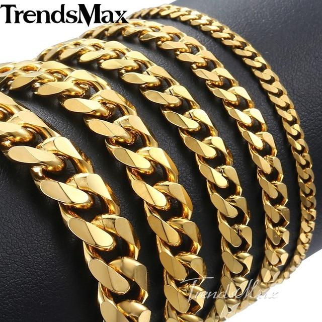 48daa473a5d6 Trendsmax pulido pulsera de los hombres de acero inoxidable para hombres  pulsera de oro negro de