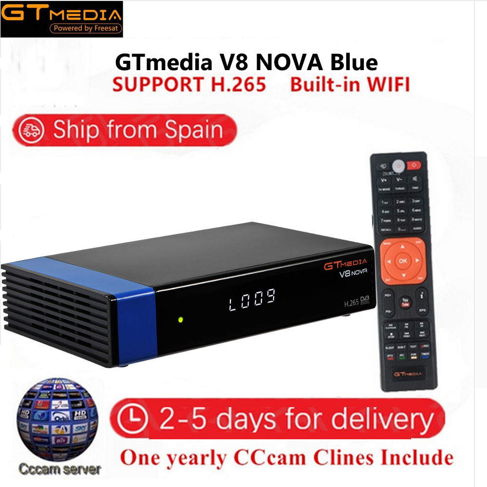 GT Media V8 Nova Blue DVB-S2 Freesat Satellite Receiver Built-in WIFI+1Year Europe Spain PO CCcam TV Box New Version Of V8 Super